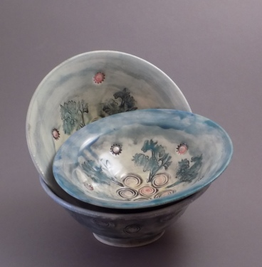 Blue Sky Bowls, small, porcelain