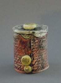 Red Letter Treasure Jar, porcelain