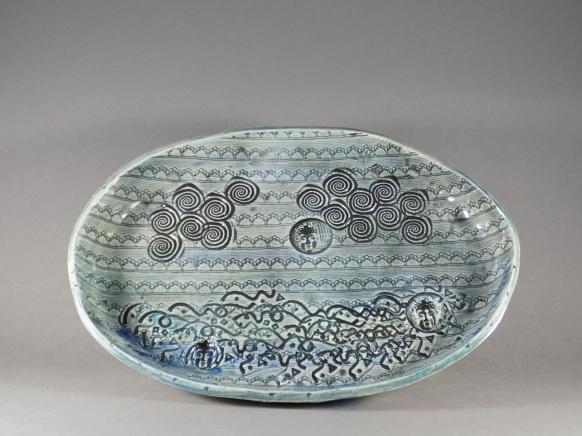 Cloud & Sea Serving Dish, porcelain
