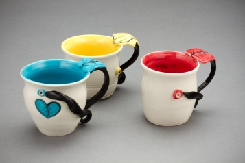 Leaf Mugs, porcelain