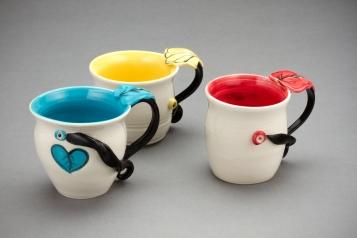 Leaf Mugs, porcelain